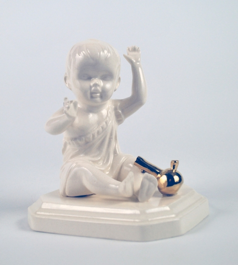 """Bong Baby. 2014. Porcelain and Luster. 3.5"""" x 3"""" x 2.5"""""""