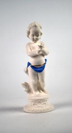 "Rude Cherub. 2014. Porcelain, Underglaze, Glaze, and Luster. 8.5""h"
