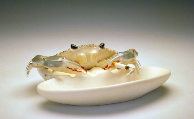 Hey Crab, That's My Cigarette. 2012. Porcelain, China Paint. Collection of Cydney Ross