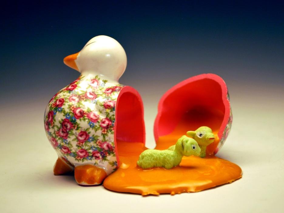 "Duck Egg. 2012. Mixed Media. 3.5"" x 3"""