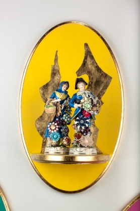 """Altarpiece I (Blue Figures). 2012. Wood, Paint, Gold Leaf, Found FIgurines, Found Objects. 18"""" x 11"""""""