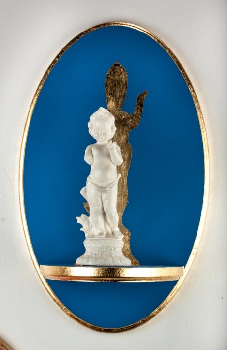"Altarpiece I (Fuck You). 2012. Wood, Paint, Gold Leaf, Porcelain, China Paint, Glitter. 18"" x 11"""