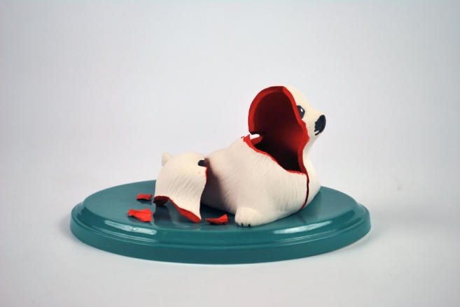 "Do Not Use if Seal is Broken. 2014. Porcelain, Glaze, Underglaze. 9.5"" x 7.5"""